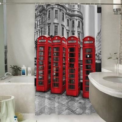 Шторы для ванной «Красные будки»