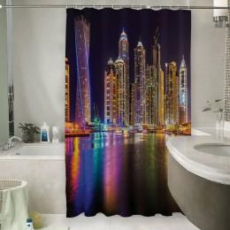 Шторы для ванной «Огни Дубая»