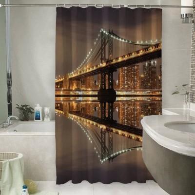 Шторы для ванной «Бруклинский мост: отражение в реке Гудзон»