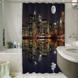Шторы для ванной «Луна над ночным городом»