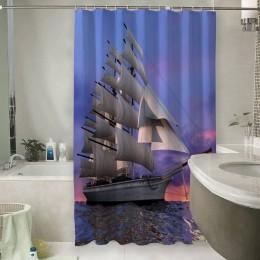 Шторы для ванной «Парусник на закате»