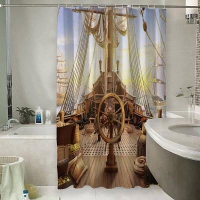 Шторы для ванной «Штурвал пиратского корабля»