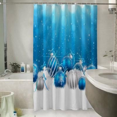 Шторы для ванной «Голубая новогодняя композиция»