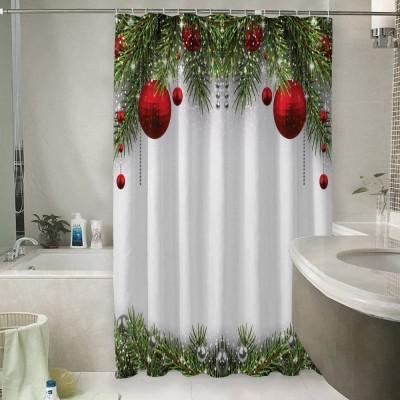 Шторы для ванной «Новогодний фон с красными игрушками»