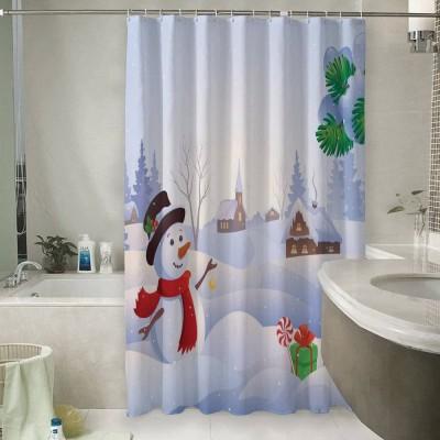 Шторы для ванной «Снеговичок»