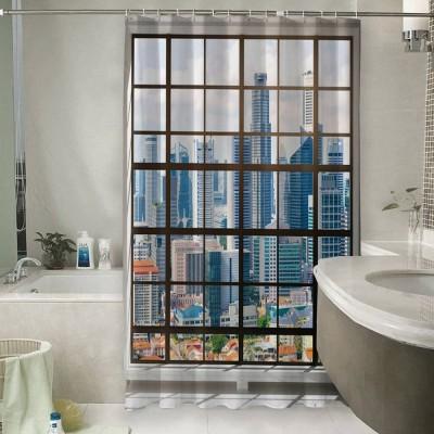 Шторы для ванной «Окна с панорамным видом на город»