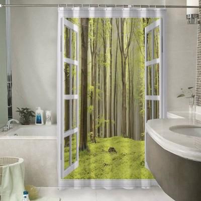 Шторы для ванной «Окно с видом на зеленый лес»