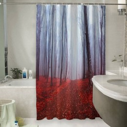 Шторы для ванной «Осенний лес в тумане»