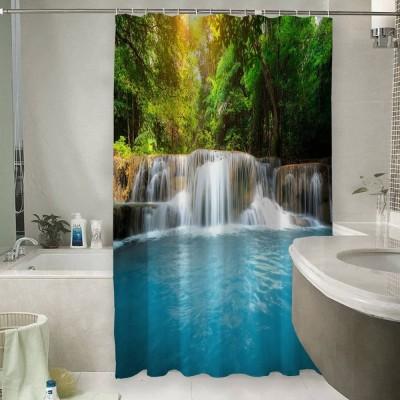 Шторы для ванной «Водопад с голубой водой»