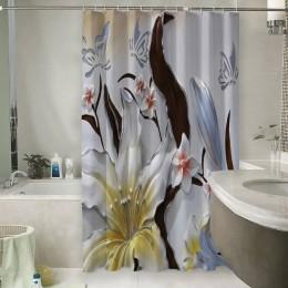 Шторы для ванной «Объемные цветы с бабочками»