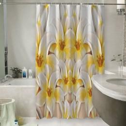 Шторы для ванной «Объемные лилии»
