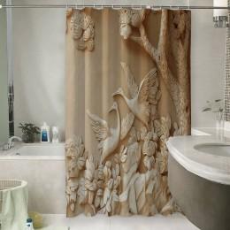 Шторы для ванной «Журавли резьба по дереву»