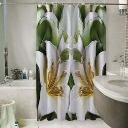 Шторы для ванной «Зеленые лилии из керамики»