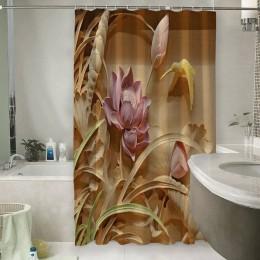 Шторы для ванной «Цветы с тиснением»