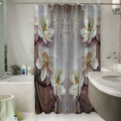 Шторы для ванной «Объемные цветущие ветки»