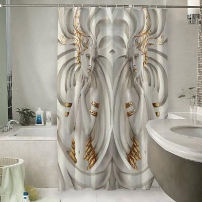 Шторы для ванной «Барельеф девушки с золотом»