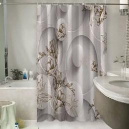Шторы для ванной «Объемные круги с цветочным узором»