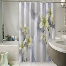 Шторы для ванной «Нежно-салатовые цветы на объемном фоне»