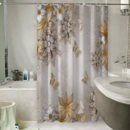 Шторы для ванной «Объемные цветы со стразами и бабочками»