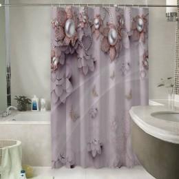 Шторы для ванной «Драгоценные цветы с жемчугом»