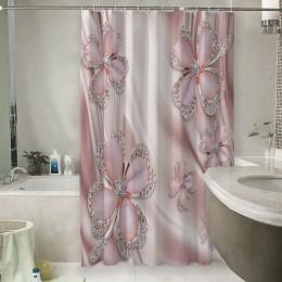 Шторы для ванной «Клевер с бриллиантами в нежно-розовых тонах»