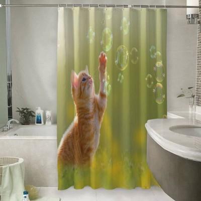 Шторы для ванной «Рыжий кот с мыльными пузырями»