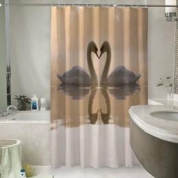 Шторы для ванной «Влюбленные лебеди»