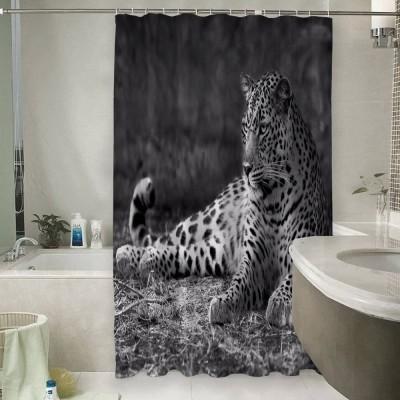 Шторы для ванной «Черно белый леопард»
