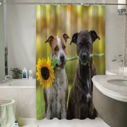 Шторы для ванной «Псы с подсолнухом»