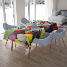 3D скатерти «Разноцветные тюльпаны»