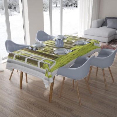 3D скатерти «Окно с видом на зеленый лес»