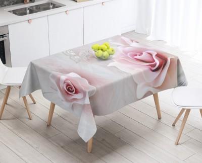 3D Скатерть «Розы с ювелирной бабочкой»