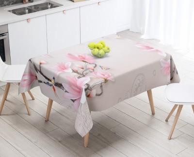 3D Скатерть «Серебристые ветви розовых магнолий»