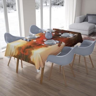 3D скатерти «Лебедь в осеннем пруду»