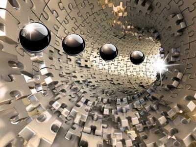 3D Фотообои «Шары в тоннеле из пазла»