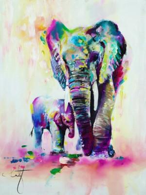 3D Фотообои «Семья слонов»
