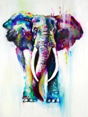 3D Фотообои «Слон акварелью»