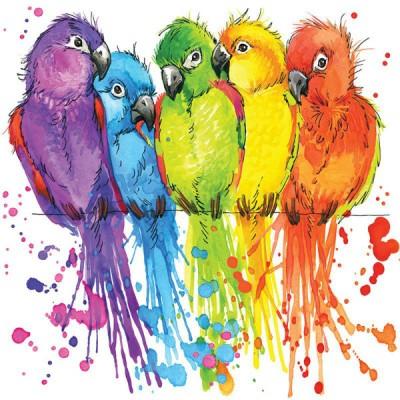 3D Фотообои «Яркие попугайчики»