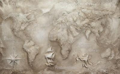 3D Фотообои «Барельеф карта мира»