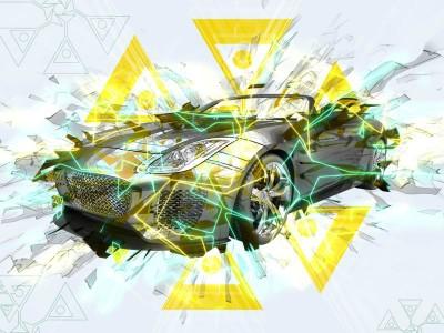 3D Фотообои «Кабриолет в абстрактном стиле»