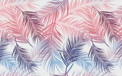 3D Фотообои «Яркие пальмовые листья»
