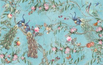 3D Фотообои «Красивые павлины на голубом фоне»