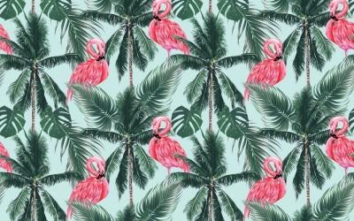 3D Фотообои «Фламинго на пальмах»