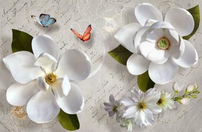 3D Фотообои «Белые цветы»