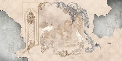 3D Фотообои «Античная иллюстрация с павлинами»