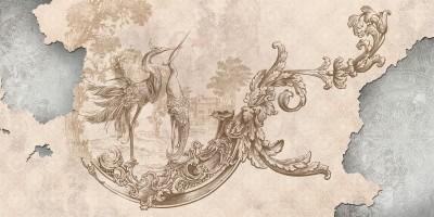 3D Фотообои «Павлины на штукатурке в античном стиле»