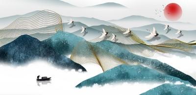 3D Фотообои «Летящие журавли под красным солнцем»