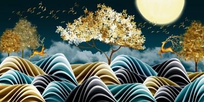3D Фотообои «Олени среди золотых деревьев и волн»