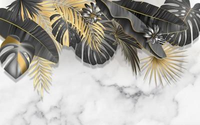 3D Фотообои «Мраморное золото»