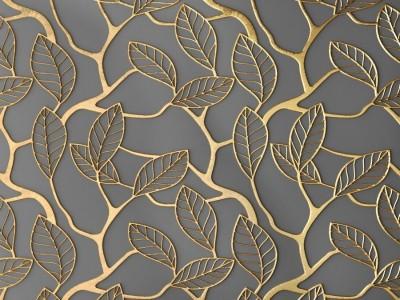 3D Фотообои «Узор с золотыми листьями»
